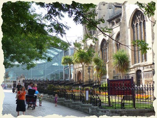 The city of Norwich - the Church of St Peter Mancroft and the Millennium Library pictured